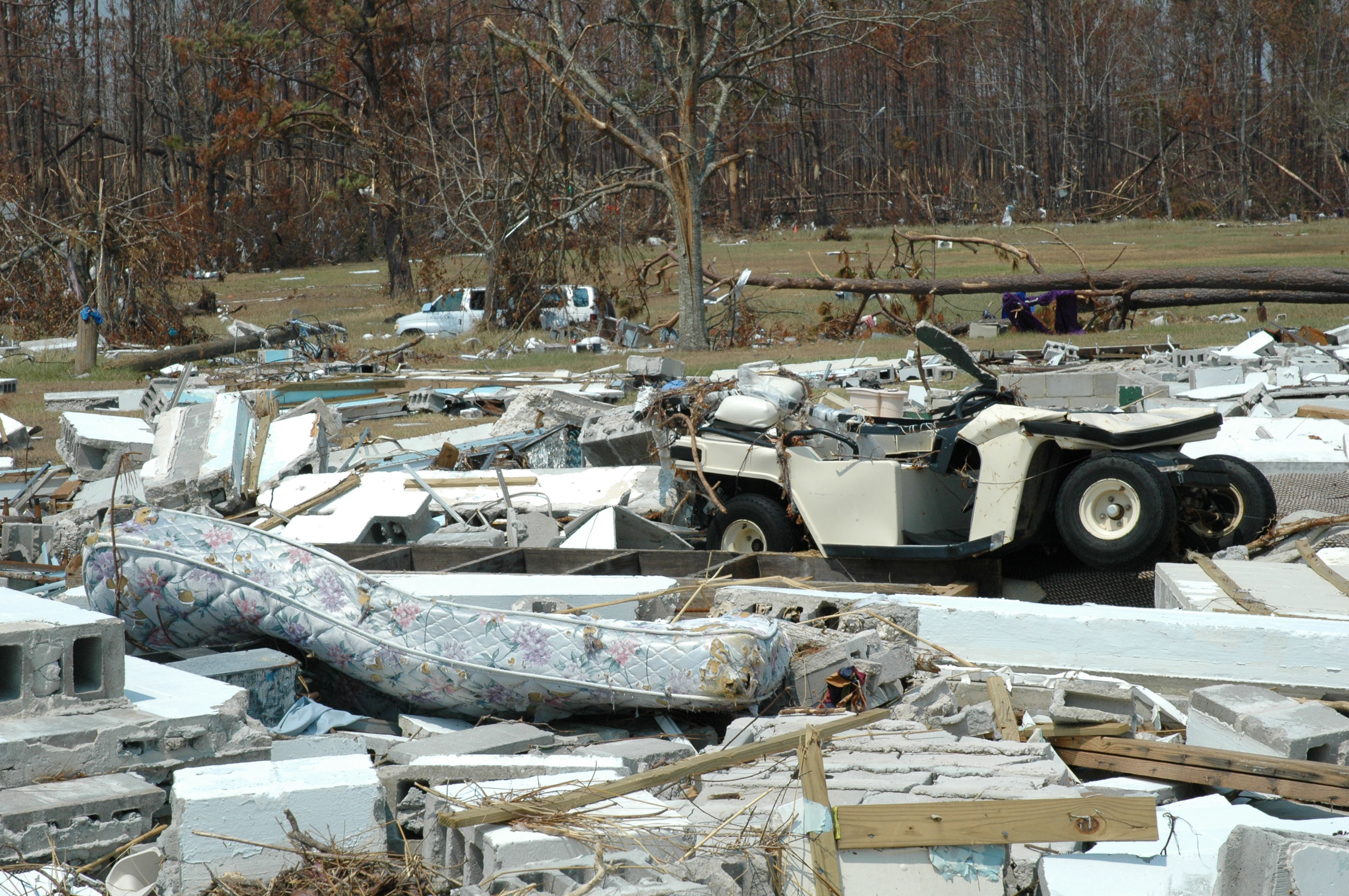 Mattresses mark the remains of dorm rooms at Gulfside Assembly. A UMNS photo by the Rev. Larry Hollon.