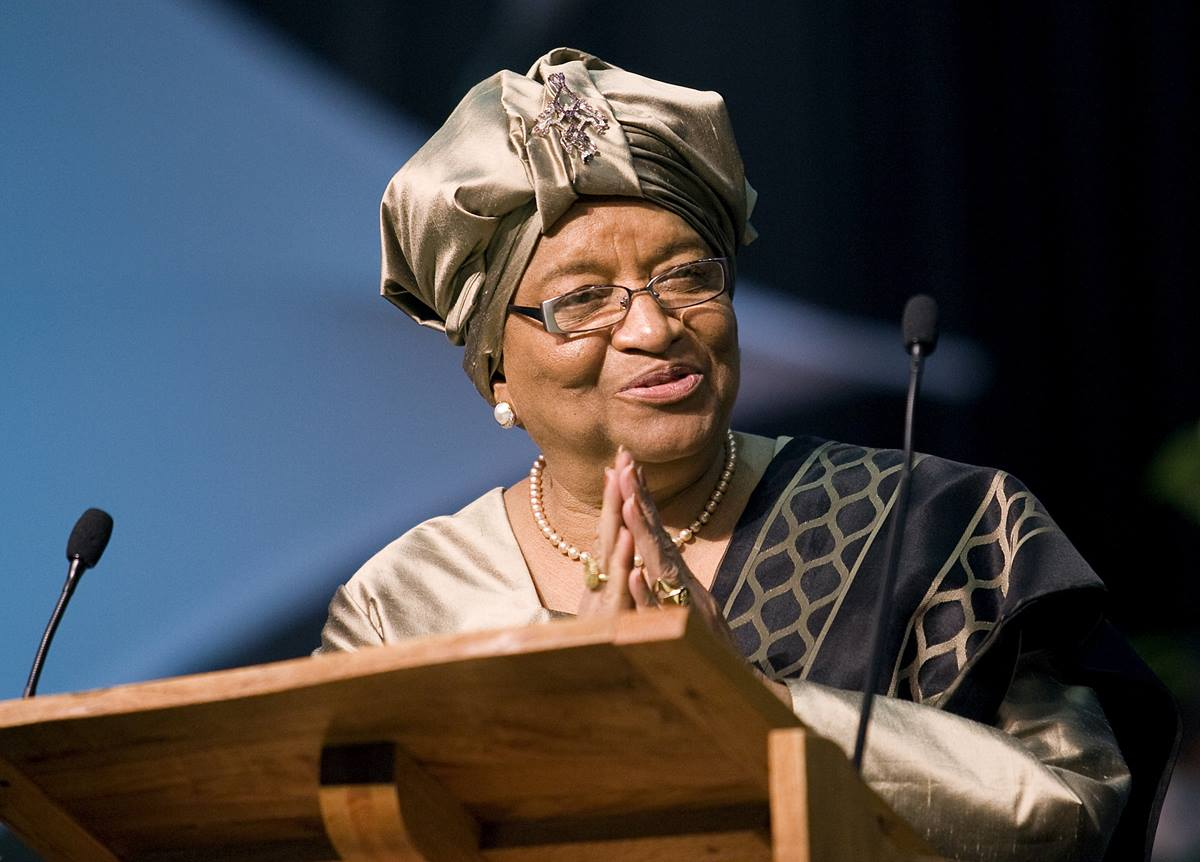 """Liberian President Ellen Johnson Sirleaf, a United Methodist, says efforts to declare Liberia a Christian state would create """"division among the citizens based on religious belief."""" Sirleaf is shown addressing the 2008 United Methodist General Conference in Fort Worth, Texas. 2008 file photo by Mike DuBose"""