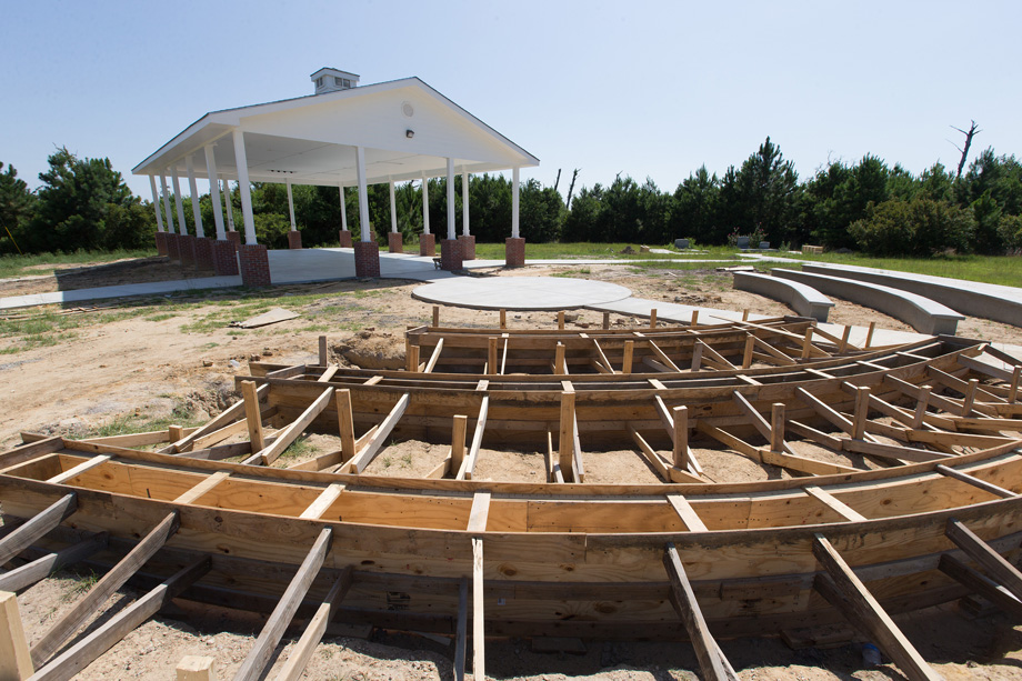Concrete forms stand ready to complete an outdoor prayer pavilion at historic Gulfside Assembly in Waveland, Miss. Photo by Mike DuBose, UMNS.