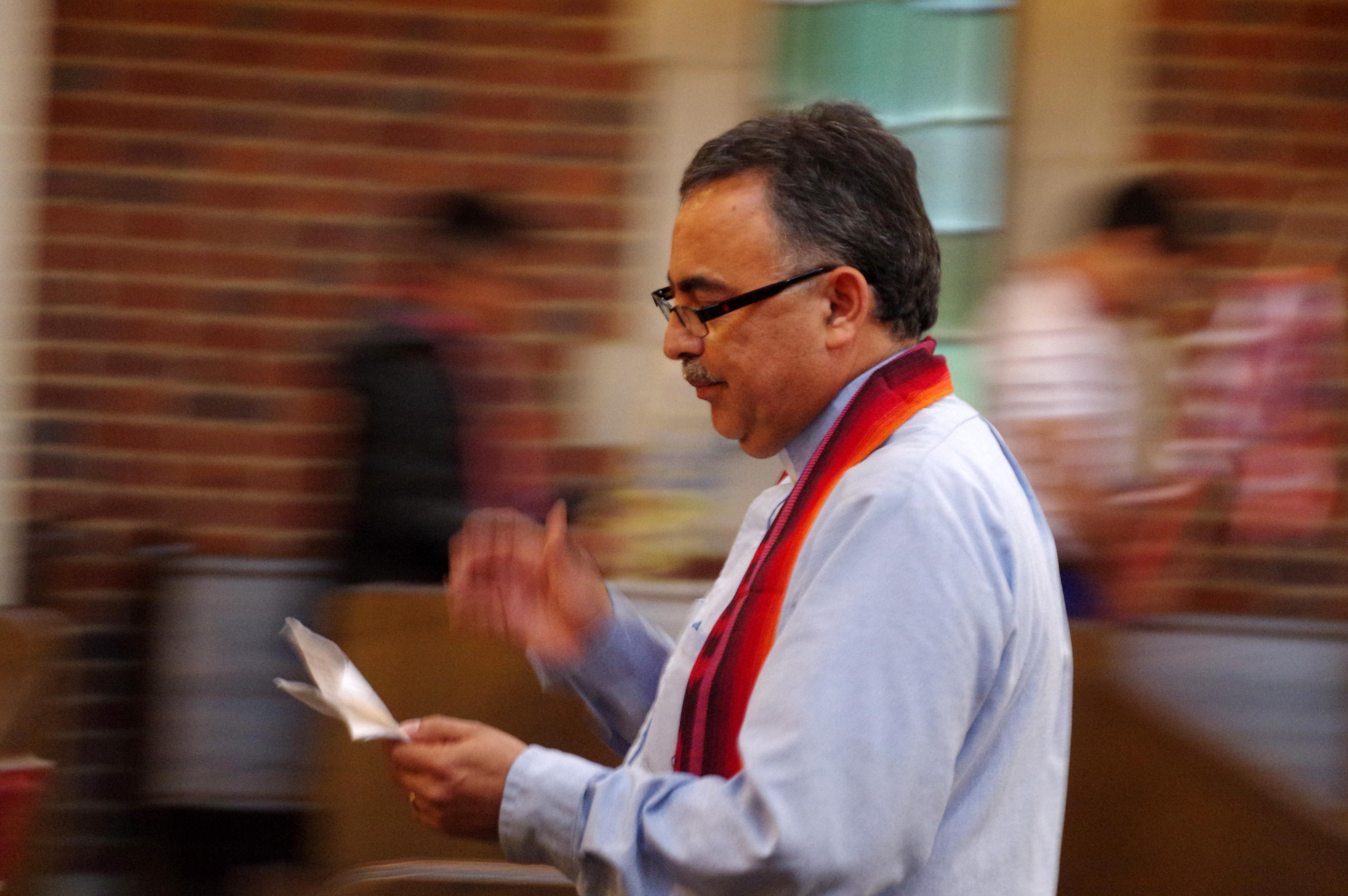 The Rev. David Martinez prepares to led the September 11 remembrance march from Scarritt Bennett to the Vanderbilt University chapel.  Photo by Gustavo Vasquez, United Methodist Communications