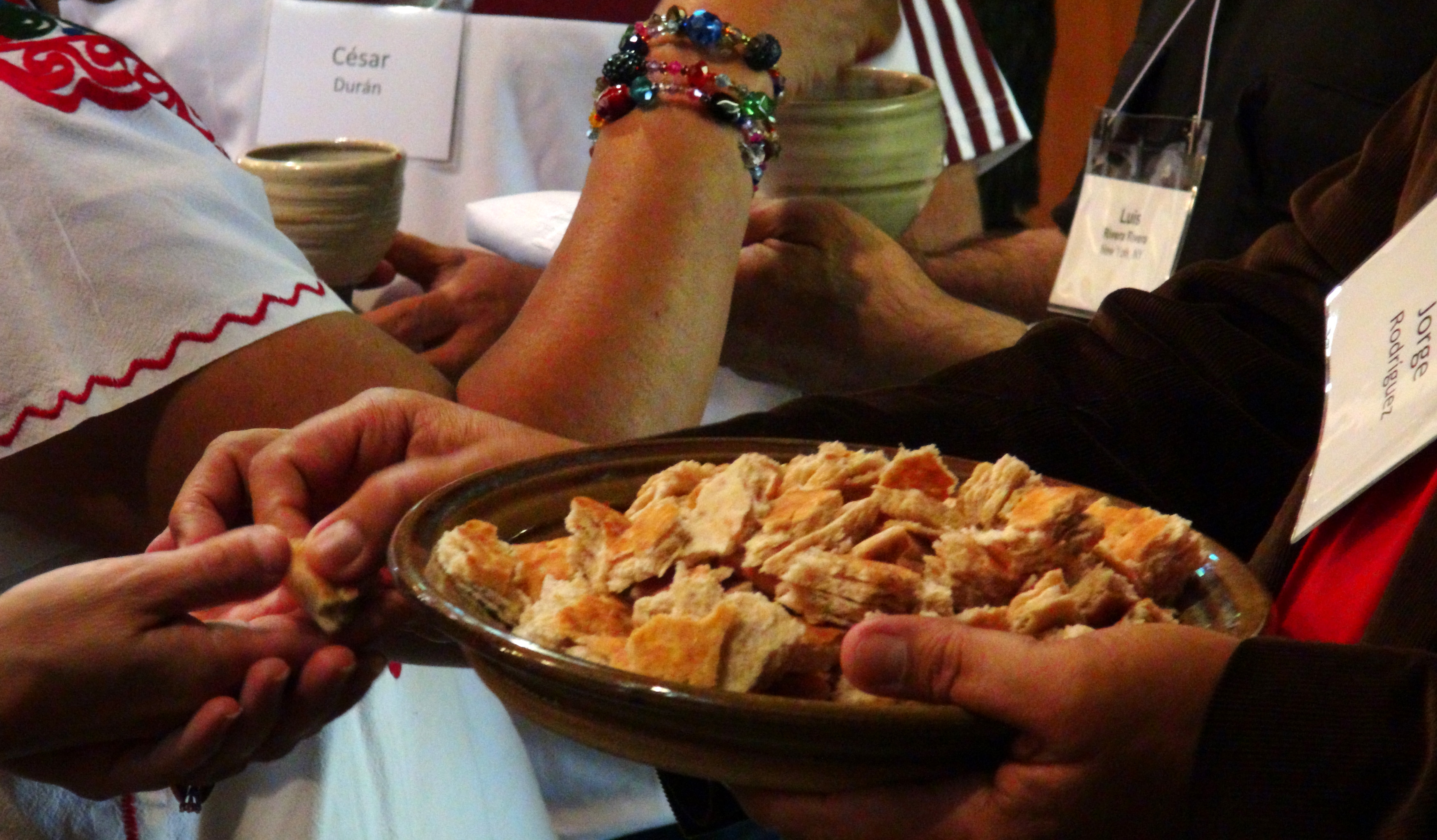 Members from six different Christian denominations gather for Communion at the first ecumenical Latino training for church planters and missioners. Photo by Michelle Maldonado, United Methodist Communications