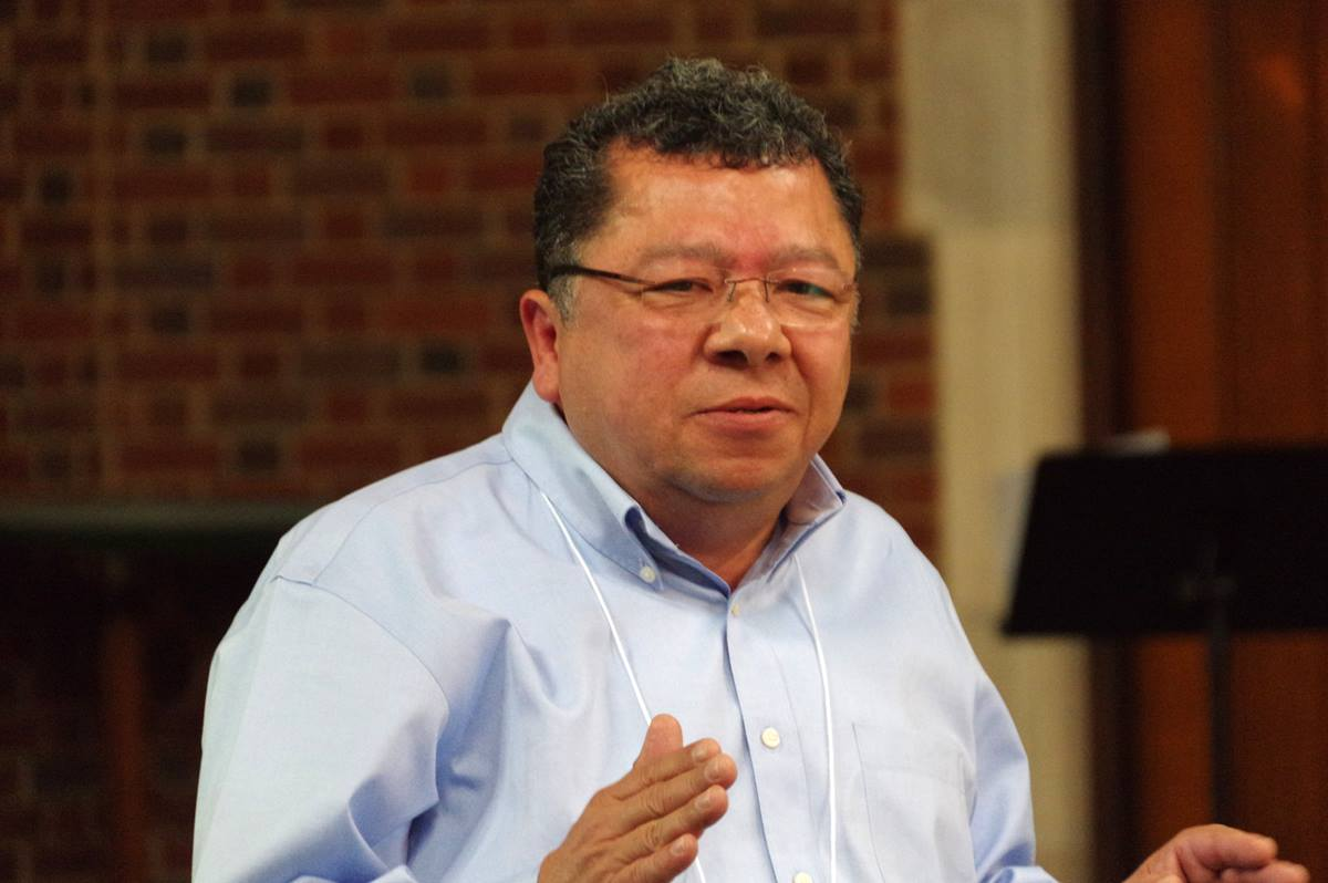 The Rev. Francisco Cañas preaches during the closing service at the first ecumenical Latino training for church planters and missioners at the Scarritt Bennett Center in Nashville, Tenn. Photo by Gustavo Vasquez,  United Methodist Communications