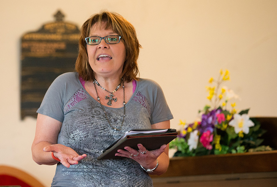 Pastor Laura Vincent reads Scripture during worship at Shiloh United Methodist Church near Clinton, Ky. Photo by Mike DuBose, UMNS