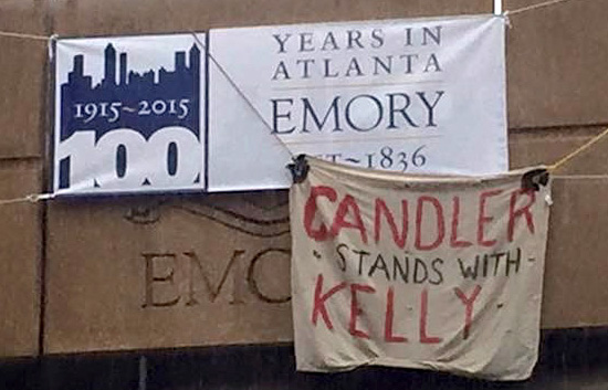 A sign in support of Kelly Gissendaner is displayed at Emory University.