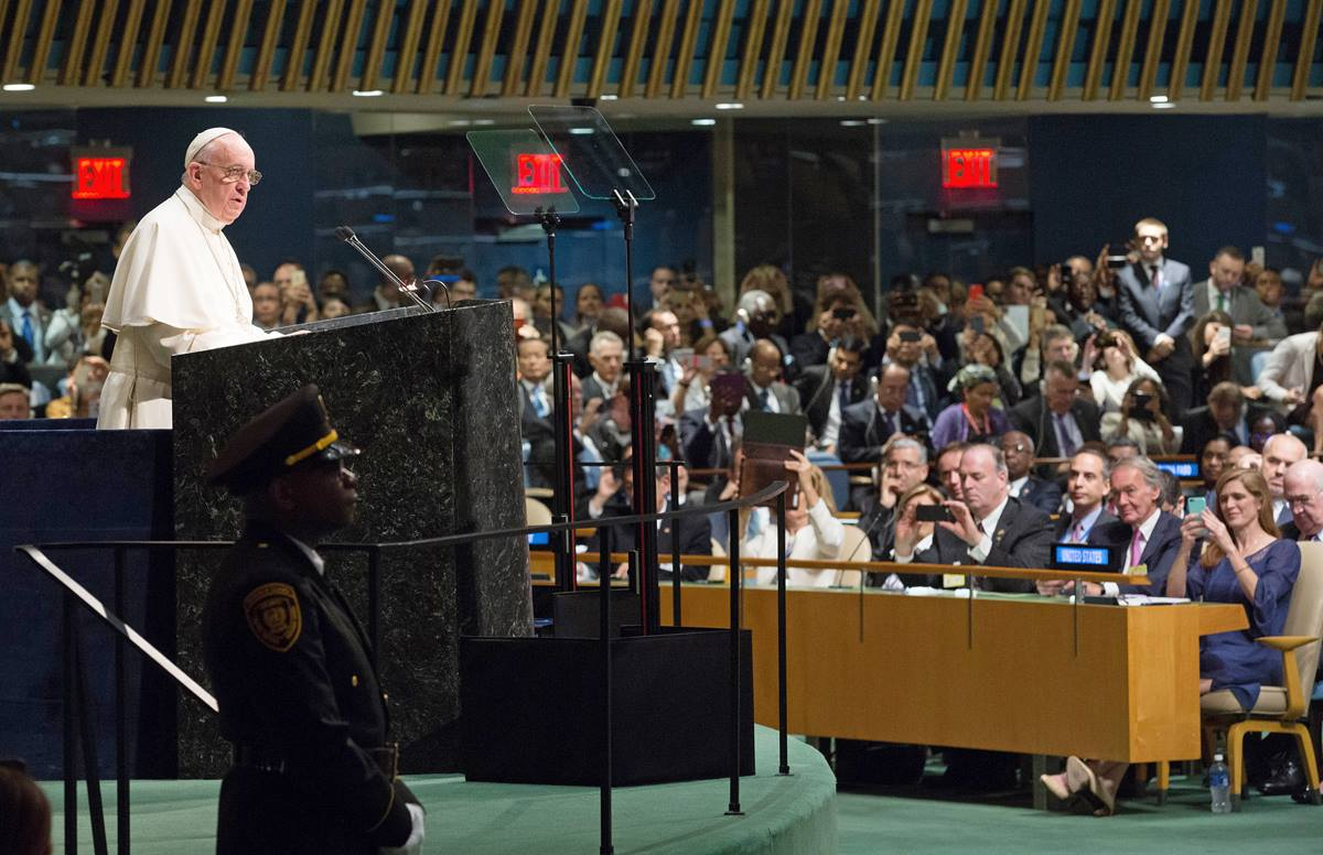 Pope Francis spoke about climate change when addressing the General Assembly during his visit to United Nations headquarters on Sept. 25. UN Photo, Evan Schneider