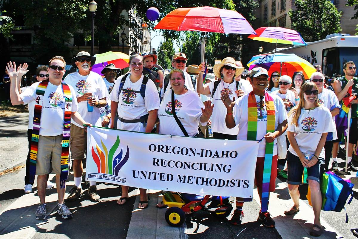Members of First United Methodist Church in Portland, Ore., participate in the June 2015 Portland Pride Parade. Photo by Lori Clarke, courtesy of First United Methodist Church