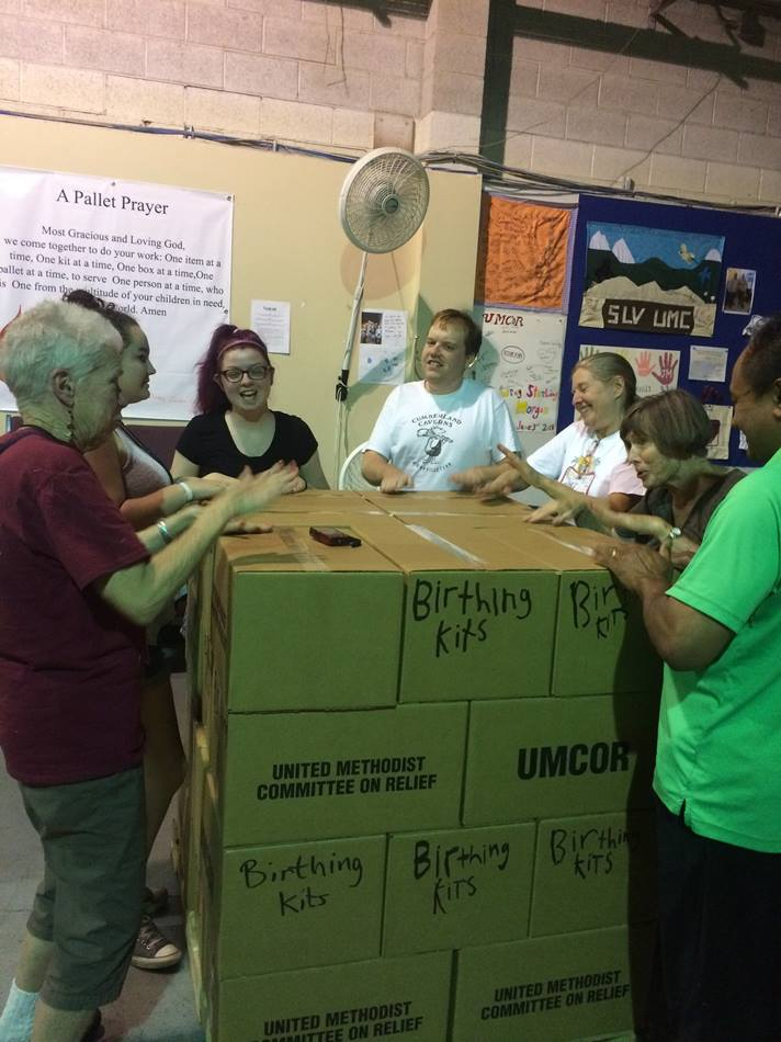 Volunteers in Mission from First United Methodist Church in Portland, Ore., pack boxes for the United Methodist Committee on Relief at the West Depot in Salt Lake City. Photo by Megan Jones, courtesy of First United Methodist Church