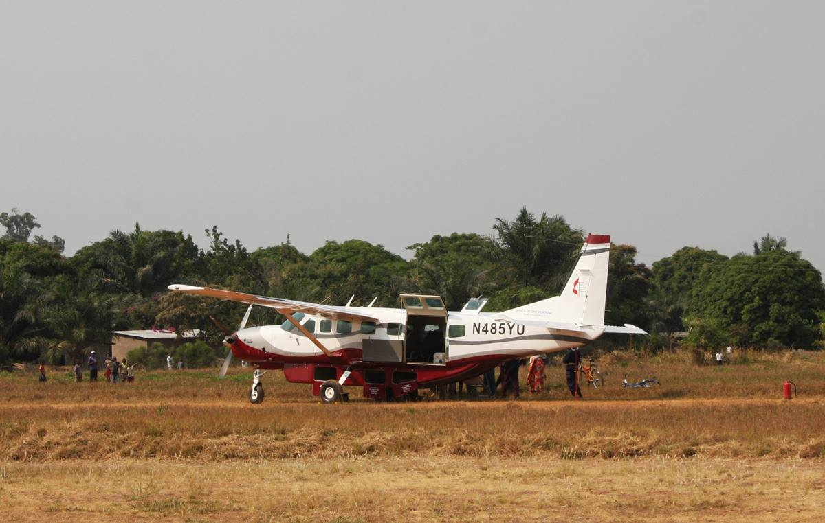 Wings of the Morning lands at the airport in Kamina, Democratic Republic of Congo. A UMNS photo by Vicki Brown.