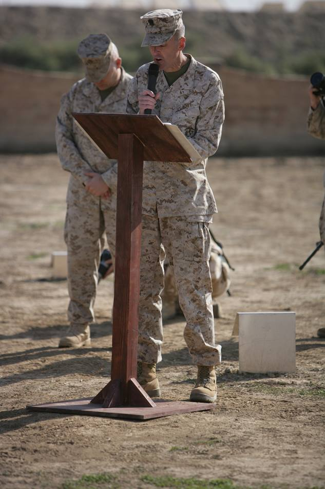 The Rev. Richard Pusateri, former senior supervisory chaplain for the U.S. Marine Corps preaching to troops in Habbaniyah Al-Anbar Province, Iraq. Photo courtesy of United Methodist Men.