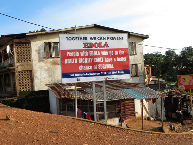 Ebola information billboards are displayed by government health partners in Sierra Leone during a three-day lockdown in 2014. A 2014 file photo by Phileas Jusu, UMNS