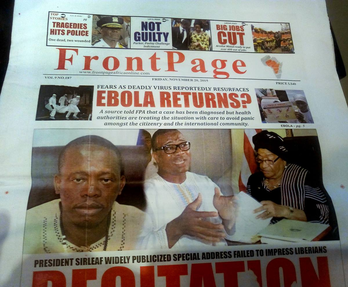 The front page of Liberia's leading investigative news magazine questions the presence of the Ebola virus in the country.