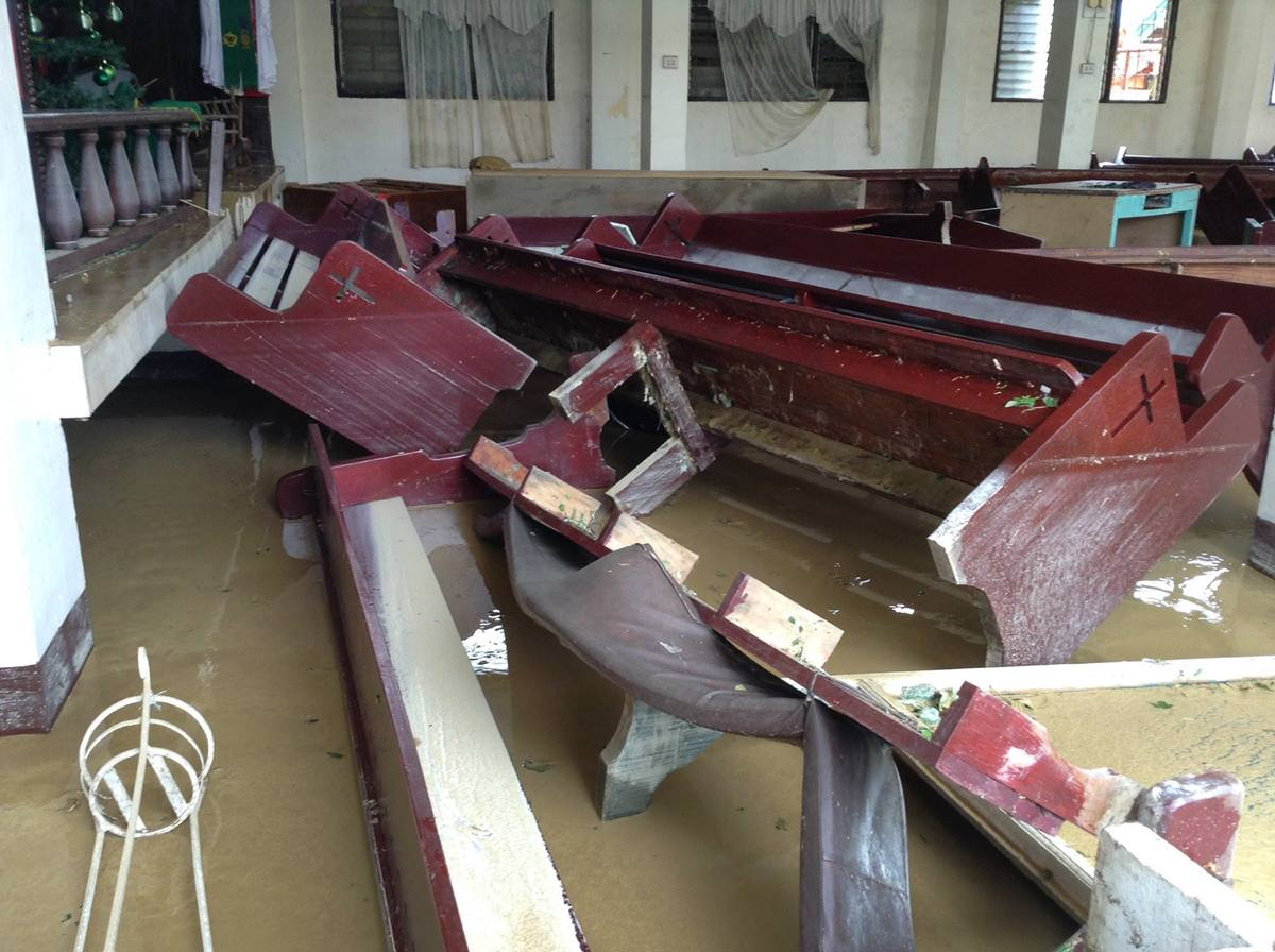 Pews were turned upside down inside the Lusok United Methodist Church during Typhoon Lando. Several United Methodist churches were flooded or damaged.Photo courtesy of Marlon Guilang