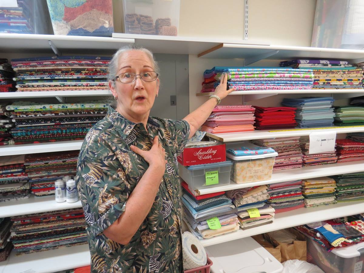 Marsha Leach is currently a heroine of the Women's Fellowship at Poetry United Methodist Church for having organized its fabric closet. The group gathers monthly to sew for charity. UMNS photo by Sam Hodges