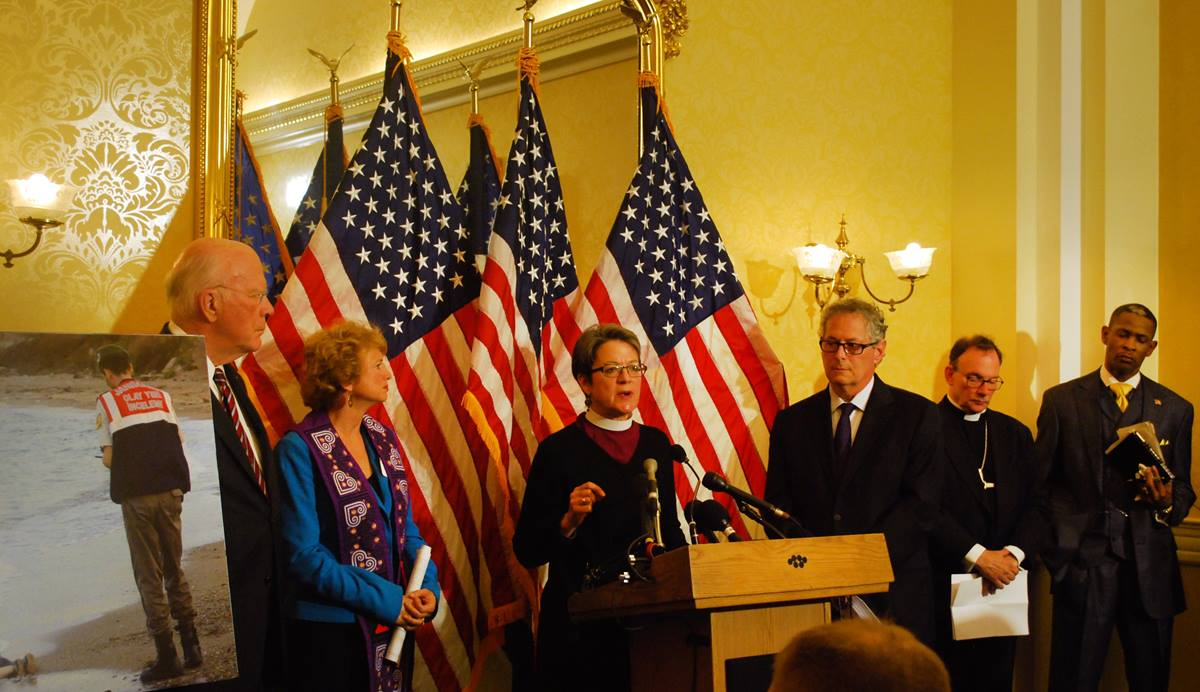 United Methodist Bishop Sally Dyck joined other national faith leaders and senators speaking on welcoming Syrian refugees during a Capitol Hill press conference on Dec. 8.