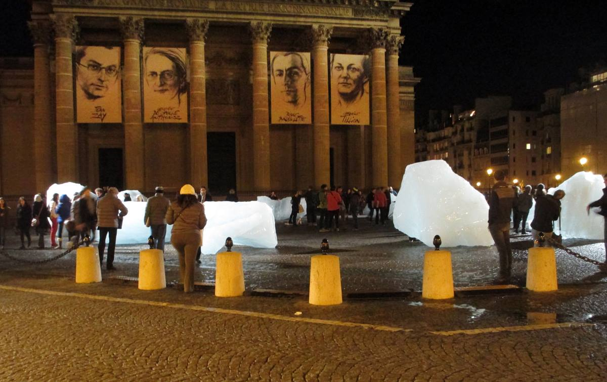 Chunks of ice, brought from Greenland to Paris, sit in front of the Panthéon in the city's Latin Quarter to illustrate the melting of the ice caps. Photo by the Rev. Pat Watkins, Global Ministries