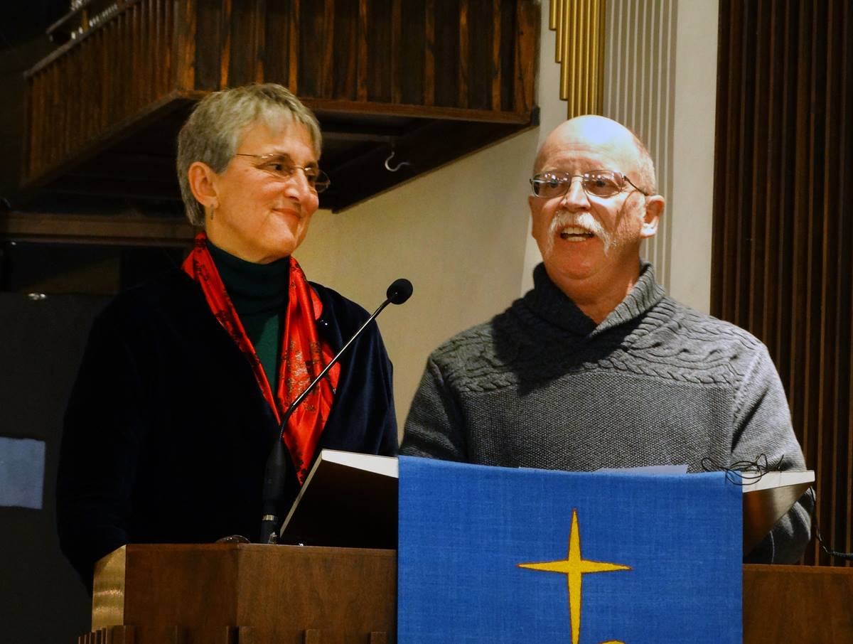 Paula and Ed Kissig, members of Epworth United Methodist Church in Indianapolis, speaking at a Dec. 11 event in support of Syrian refugees. Their son, Abdul-Rahman Peter Kassig, was murdered by ISIS one year ago. Photo by Dan Gangler, UMNS