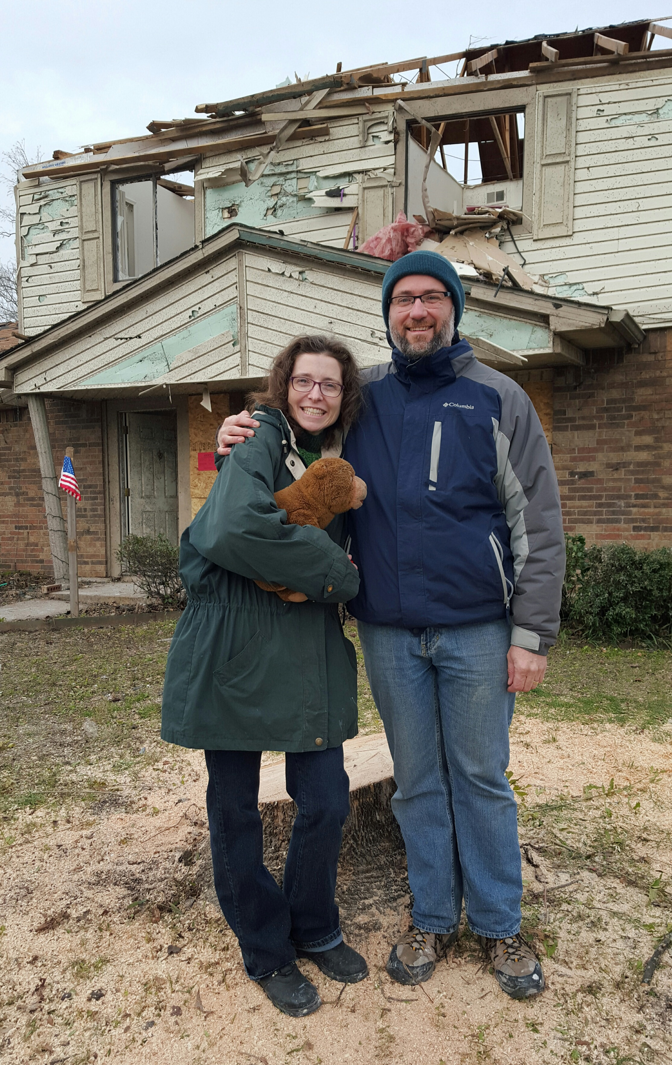 The Rev. Natalya Cherry and her husband, Paul, had their home destroyed by the Dec. 26 tornado in Rowlett, Texas. But finding Bo Bear, the favorite stuffed toy of their 8-year-old son, Gregory, raised their spirits. Photo by the Rev. Jan Davis