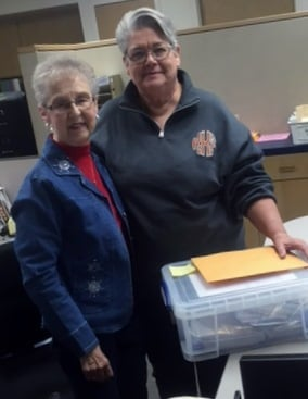 Shirley Andreasen (left) of First United Methodist Church in Garland, Texas, greeted the Rev. Kitty Key, when the latter brought tornado relief fund contributions from Sabine Pass United Methodist Church. Photo courtesy Kitty Key
