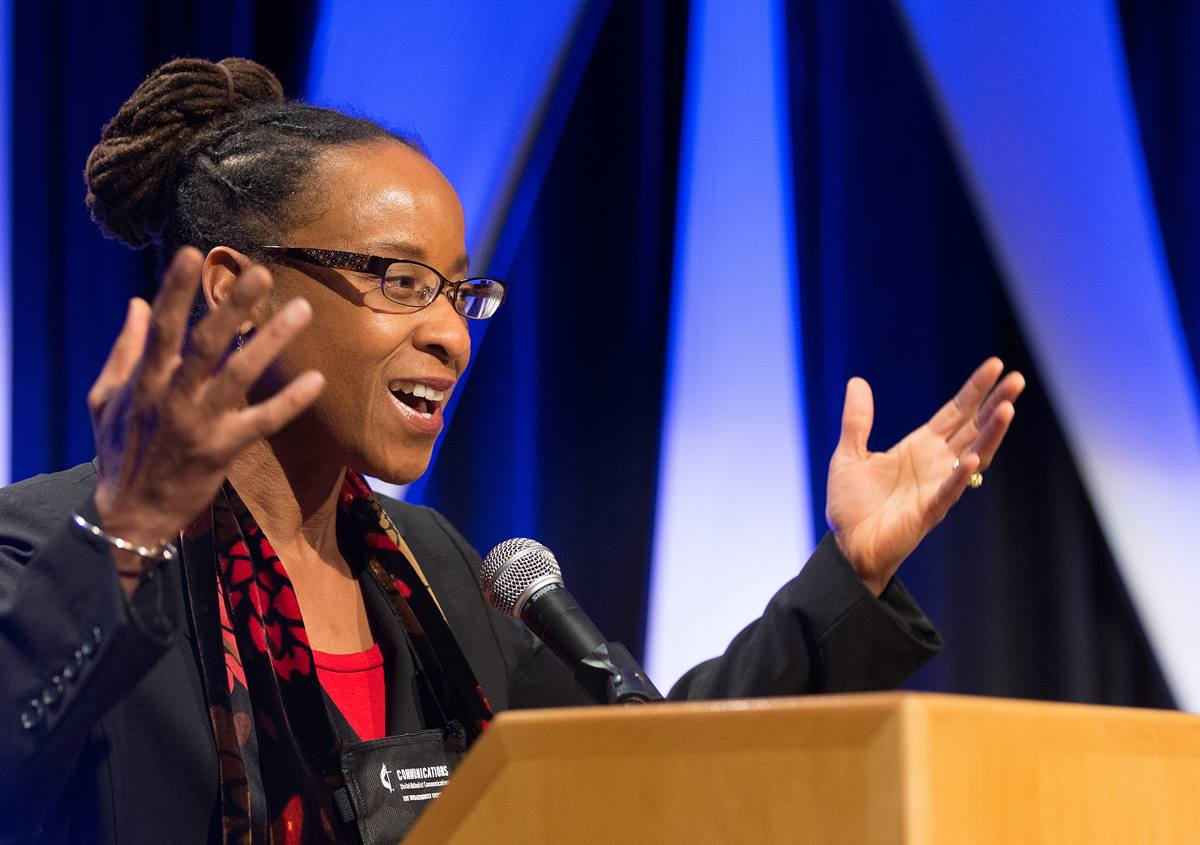 The Rev. Kennetha Bigham-Tsai takes part in a panel discussion during the pre-General Conference briefing in Portland, Ore. Tsai is superintendent of the Lansing (Mich.) District.