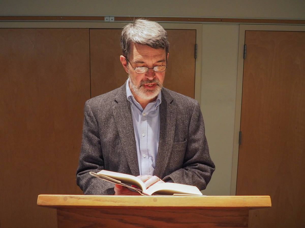 """The Rev. Joseph Reiff reads from his book """"Born of Conviction: White Methodists and Mississippi's Closed Society"""" at a book release event in Abingdon, Va., on December 5, 2015. Photo by Sarah K. Reiff."""