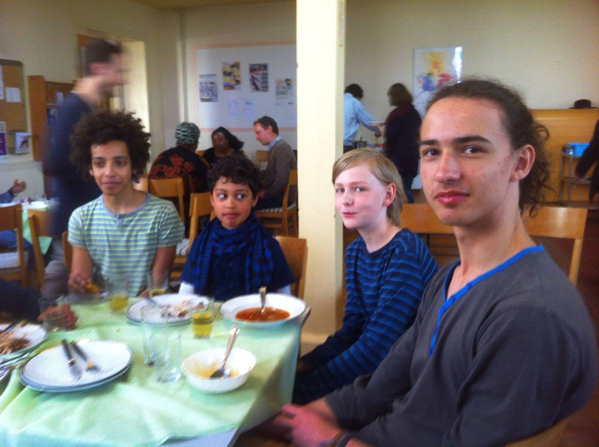 Jonathan Wilke, at right, and other young people are flocking to Immanuel United Methodist Church in Eberswalde, Germany. The church is defying the odds in the formerly Communist region by welcoming newcomers. Now, the church is striving to help refugees. Photo by Heather Hahn, UMNS