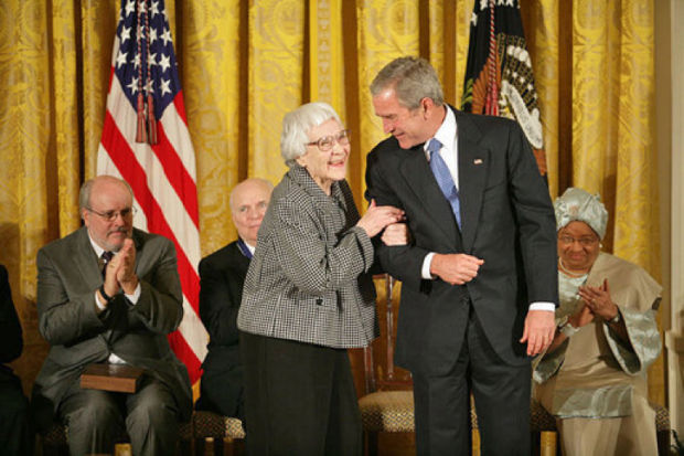 President George W. Bush awards the Presidential Medal of Freedom to author Harper Lee during a ceremony Monday, Nov. 5, 2007, in the East Room. White House photo by Eric Draper