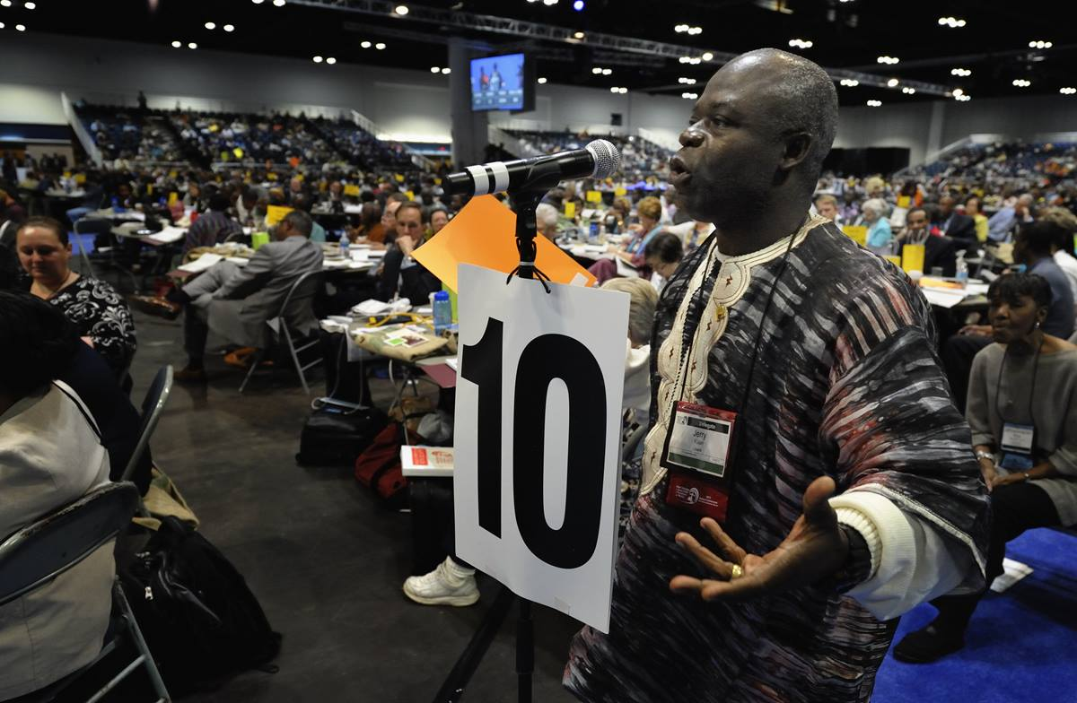 The Rev. Jerry Kulah, general coordinator of the Africa Initiative, said the movement of clergy and lay leaders, will host a gathering in Portland, Ore., for delegates from Africa before the 2016  General Conference. Kulah is shown in this file photo from the May 1 session of the 2012 United Methodist General Conference in Tampa, Florida. File photo by Paul Jeffrey, UMNS