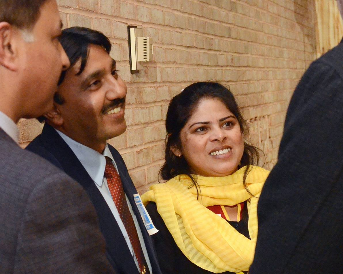 Insar Gohar and his wife, Uzma Insar, greet directors and staff of the United Methodist Board of Global Ministries in New York in April 2014. Photo by Cassandra Heller, Global Ministries