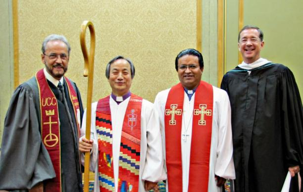 The Bishop Javier Rojas, a leader of the Evangelical Methodist Church, died March 12. He is pictured with United Methodist officials. (From left)  The Rev. Dr. Jorge L. Morales, United Church of Christ; United Methodist Bishop Hee-Soo Jung; Terán and Jim Winkler, former general secretary of the United Methodist Board of Church and Society. Photo by Anne Marie Gerhardt