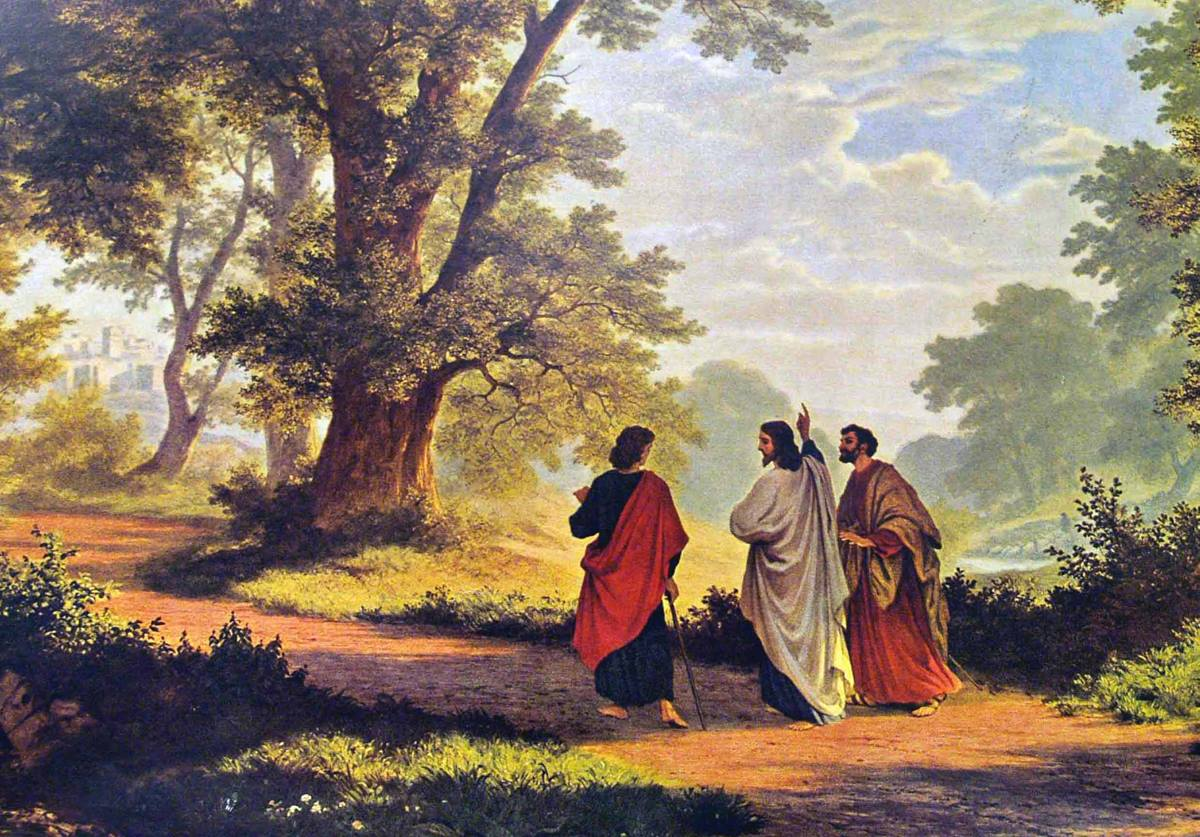 """The Road to Emmaus,"" an 1877 painting by Robert Zund. Public Domain. The Gospel of Luke account remains beloved reading and gives inspiration to spiritual retreats. Story from United Methodist News Service."