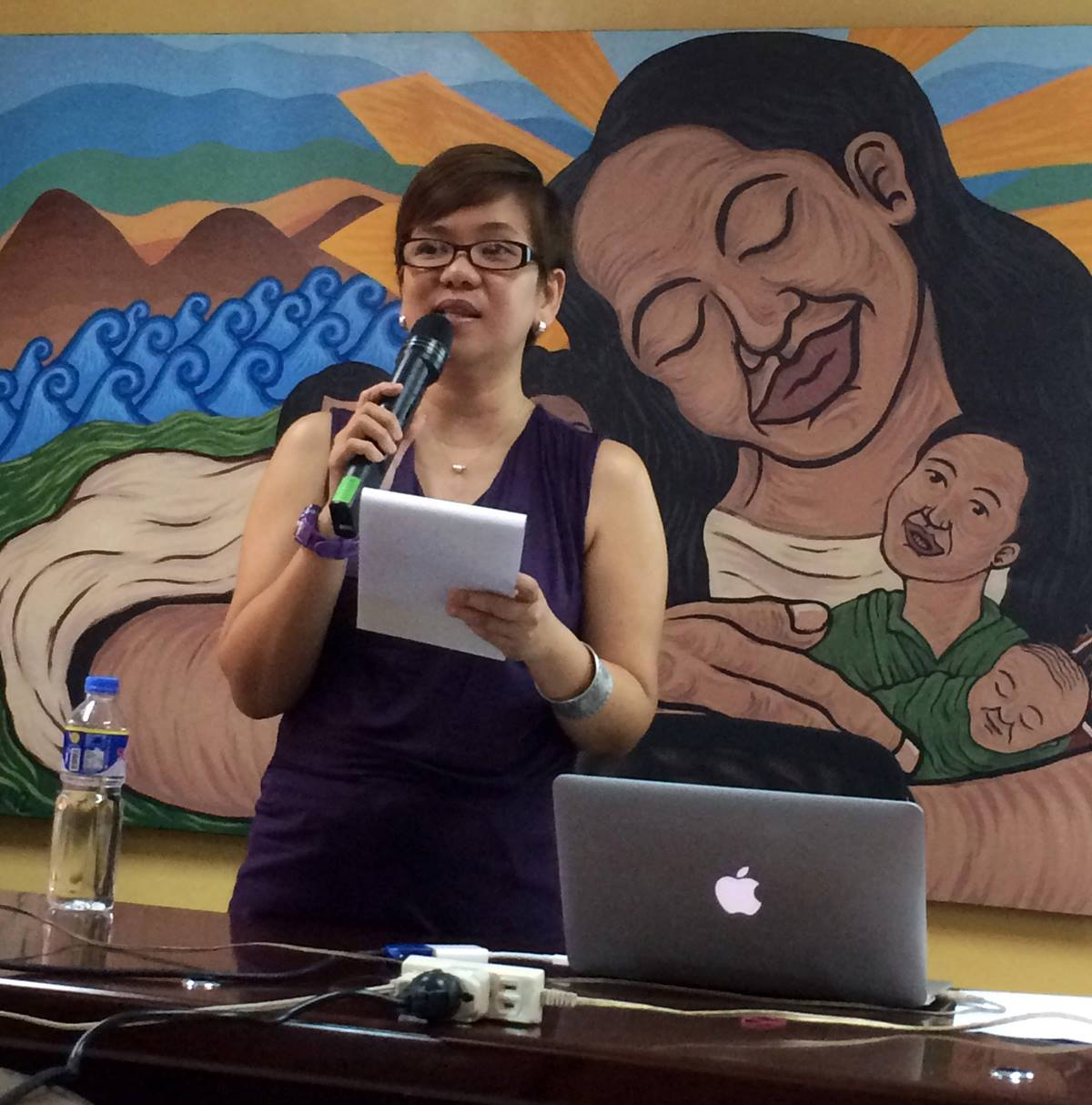 """Darlene Marquez-Caramanzana, a United Methodist deaconess, documented the experiences of the women relatives of victims of human rights violations. She presented her research in a lecture series on """"Women in the Revolutionary Struggle"""" on May 14 at the University of the Philippines. Photo courtesy of Benny Mendoza"""