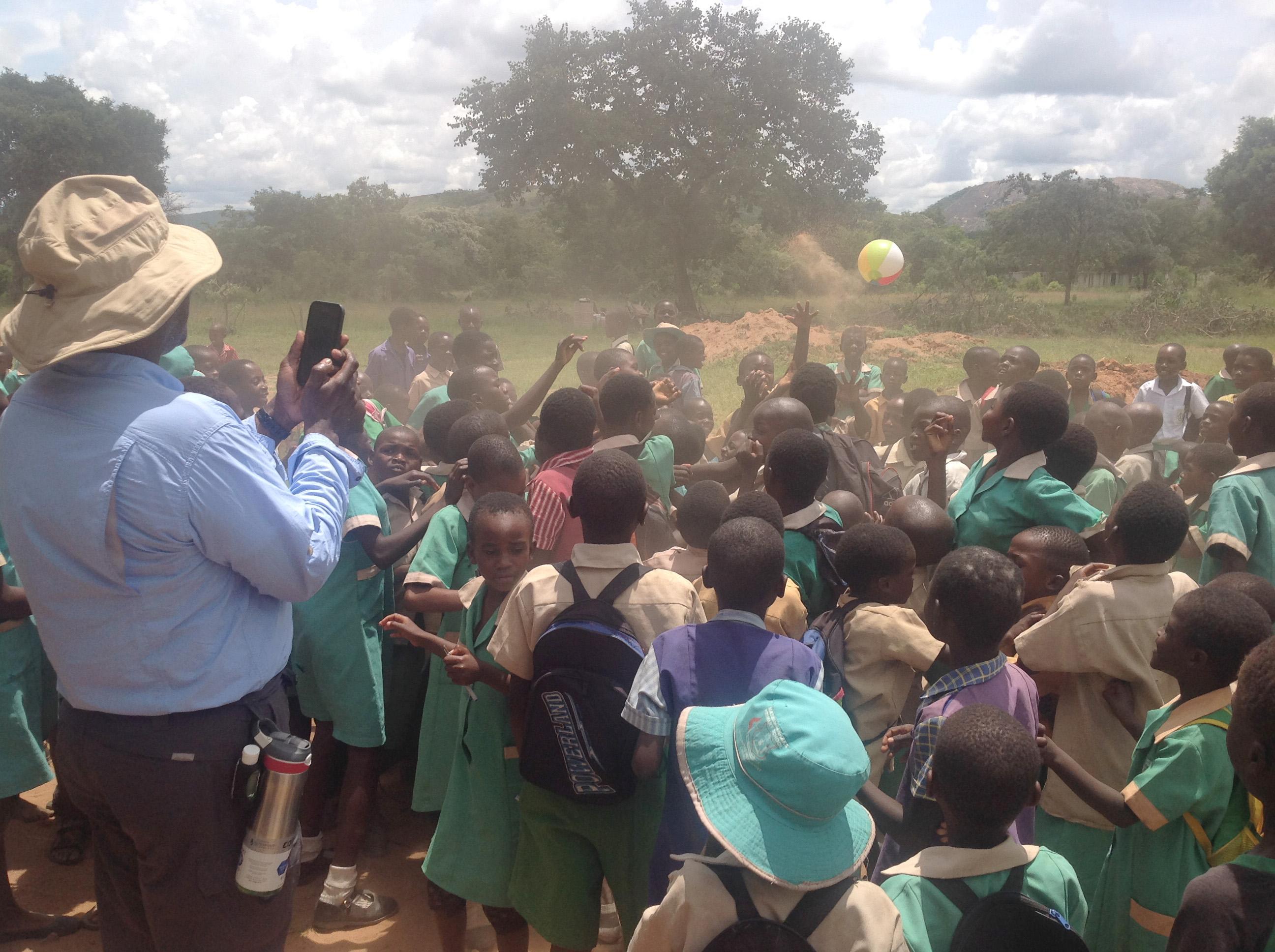 Students play outside Mashambanhaka Secondary School in Murewa, Zimbabwe. The school recently celebrated the construction of two classroom blocks by Community United Methodist Church in Crofton, Md. Photo by Eveline Chikwanah