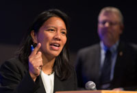 The Rev. Amy Valdez Barker at the Pre-General Conference briefing in Portland, Ore. Photo by Mike DuBose, UMNS.