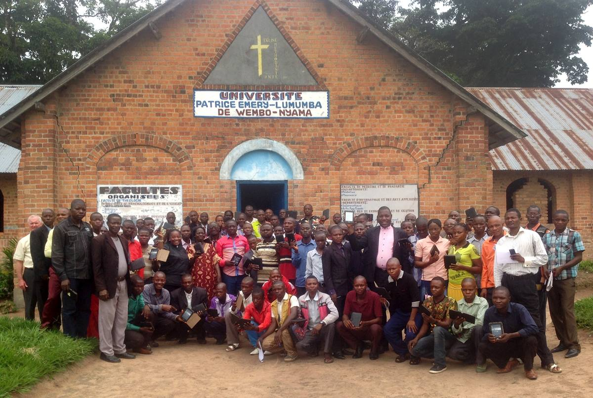 The E-reader Project at Patrice Emery Lumumba University in Wembo Nyama will provide resources for theological education for pastors-in-training in the heart of the Congo. Photo by Pierre Omadjela, UMNS