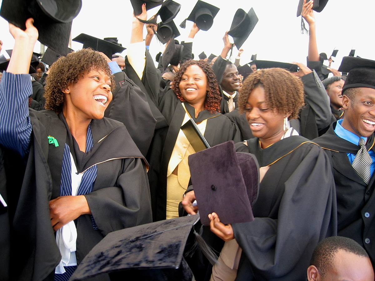Africa University students celebrate their graduation in 2006.