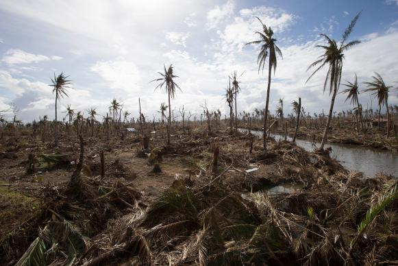 Typhoon Haiyan, a natural disaster made worse by climate change, laid waste to vast areas near Tanauan, Philippines in 2013. File photo by Mike DuBose, UMNS.