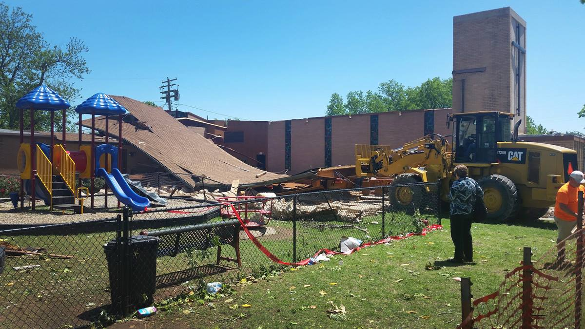 An April 26 storm, possibly a tornado, badly damaged the sanctuary at Davis First United Methodist Church in Davis, Oklahoma. Photo by Andrew Himes