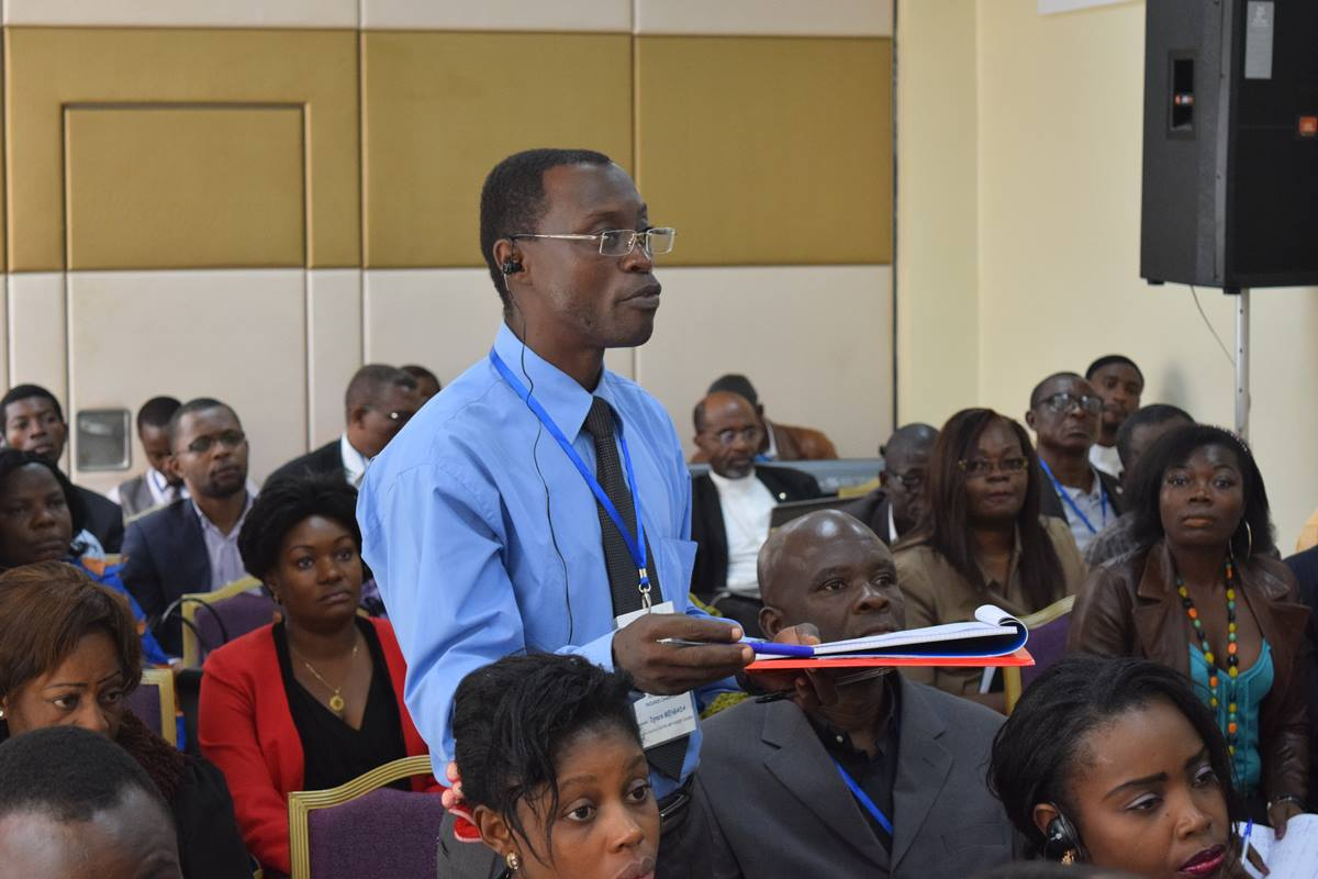 The Rev. Ignace Mengada, pastor of Zion United Methodist Church, Obala, Cameroon, speaks at a Peace with Justice seminar. Photo by Neil Christie, United Methodist Board of Church and Society