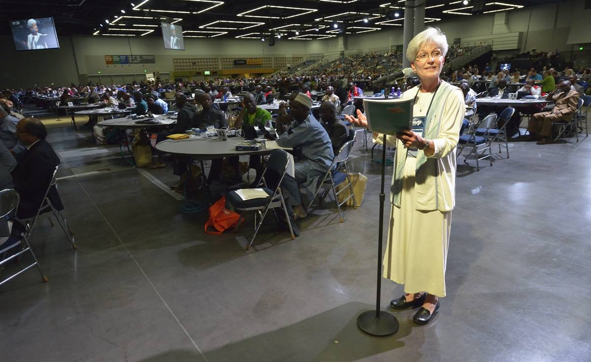 The Rev. Joy Barrett, a clergy delegate from the Detroit Conference, speaks on May 10 to the United Methodist General Conference in Portland, Ore.  Photo by Paul Jeffrey, UMNS.