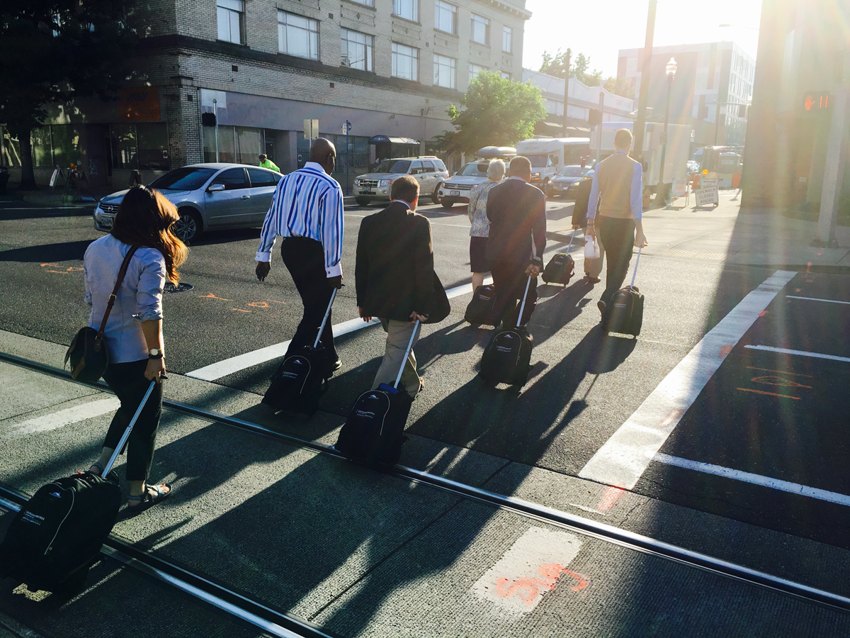 Discipleship Ministries staff embark on their daily walk to the Oregon Convention Center.