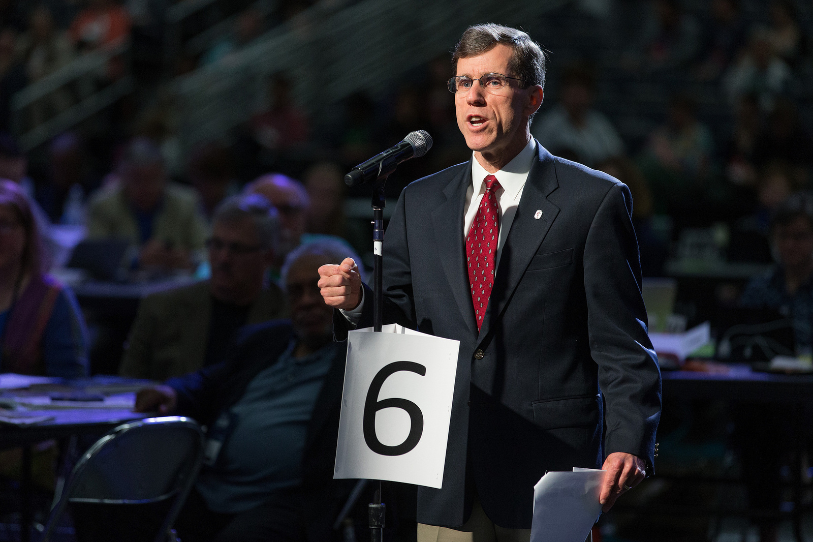 Brian Hammons of the Missouri Conference helps deliver the laity address during the 2016 United Methodist General Conference in Portland, Ore. Photo by Mike DuBose, UMNS