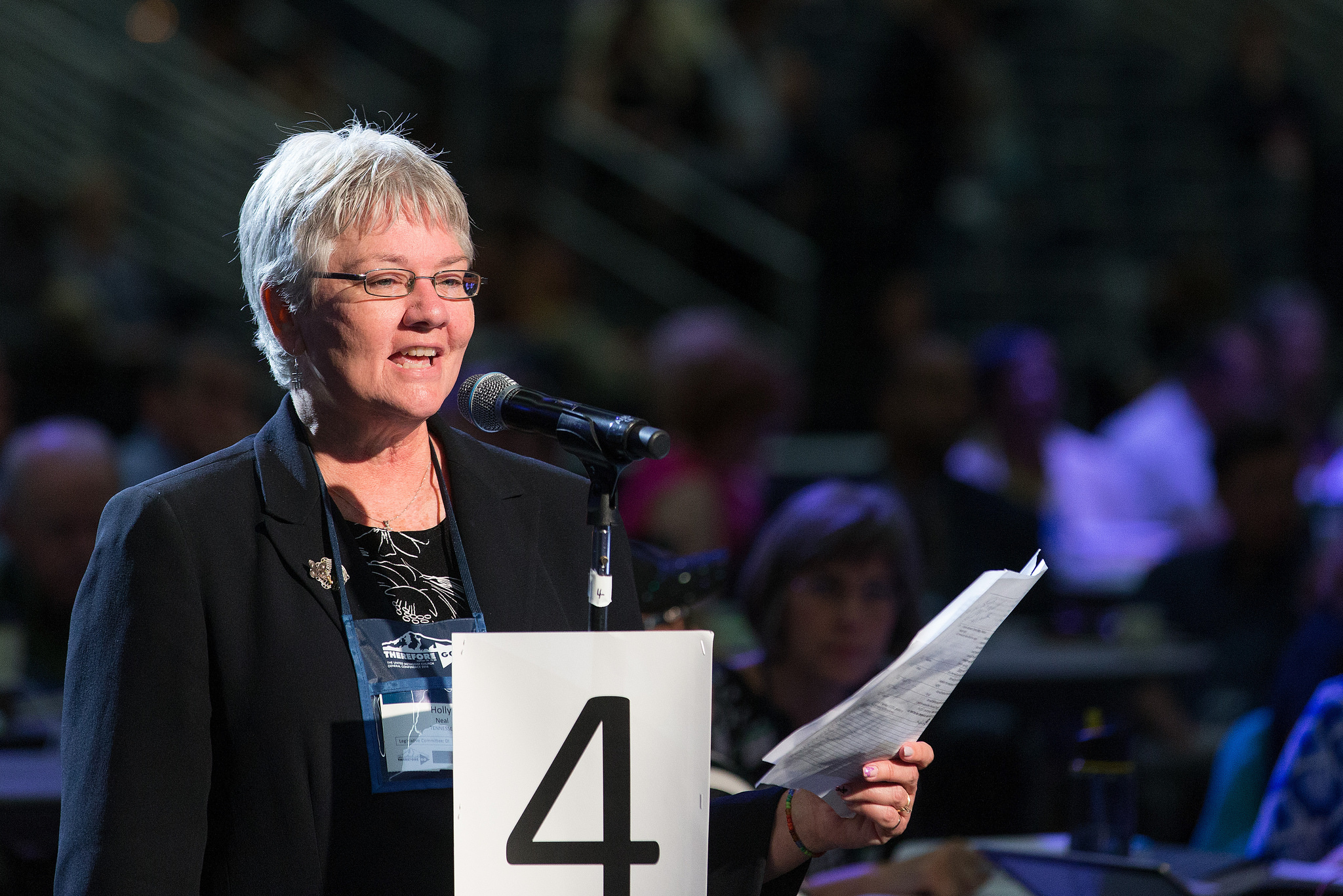 Holly Neal of the Tennessee Conference helps deliver the laity address during the 2016 United Methodist General Conference in Portland, Ore. Photo by Mike DuBose, UMNS.