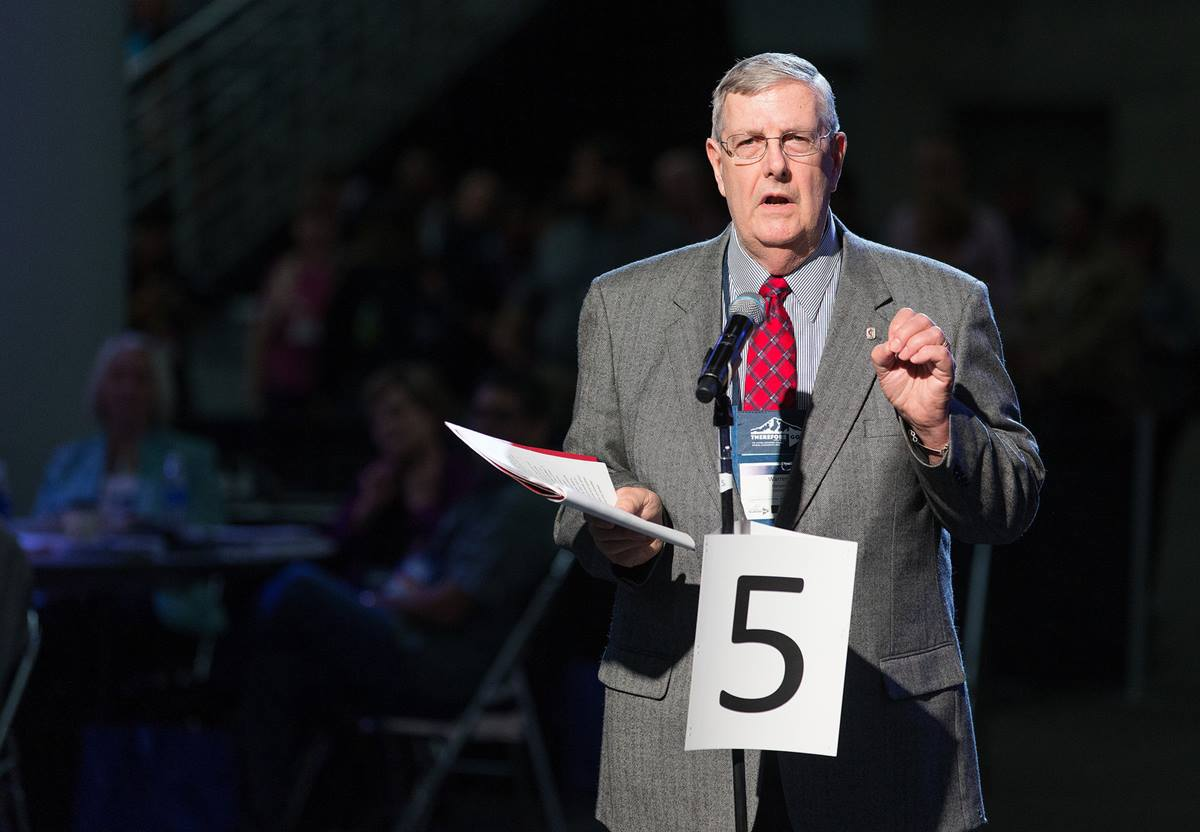 Warren Harper of the Virginia Conference helps deliver the laity address during the 2016 United Methodist General Conference in Portland, Ore. Photo by Mike DuBose, UMNS