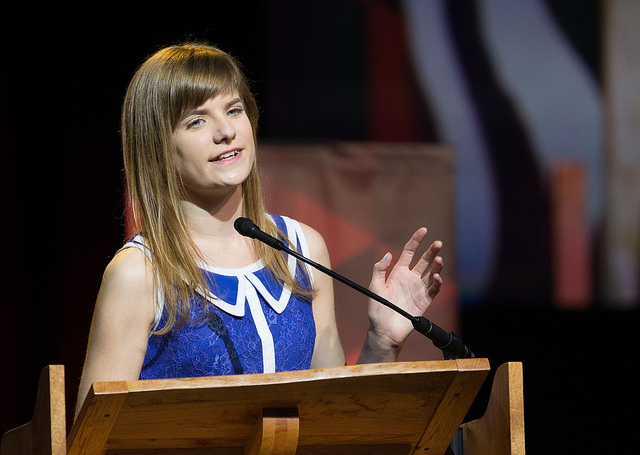 Hannah Foust talks about her efforts to raise money for water wells in Burkina Faso during a report on the work of the Connectional Table at 2016 United Methodist General Conference in Portland, Ore. Photo by Mike DuBose, UMNS