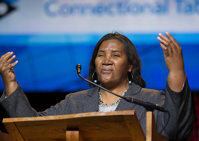 Benedita Penicela reports on the work of the Connectional Table during the 2016 United Methodist General Conference in Portland, Ore. Photo by Mike DuBose, UMNS