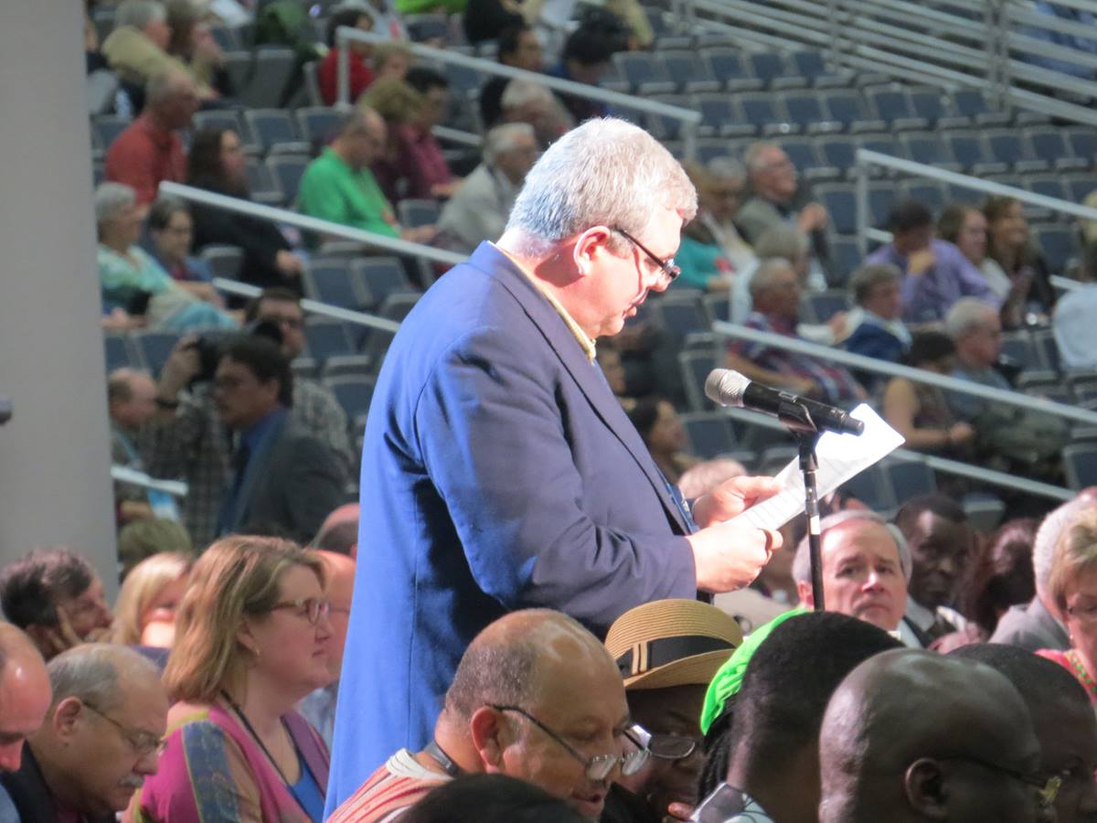 The Rev. Bob Zilhaver of the Western Pennsylvania Conference speaks May 13 at General Conference 2016 in Portland, Oregon. Zilhaver voiced concern that the use of iPads, as opposed to placards, was putting some delegates at a disadvantage in getting the attention of the presiding bishop. Photo by Sam Hodges, UMNS.