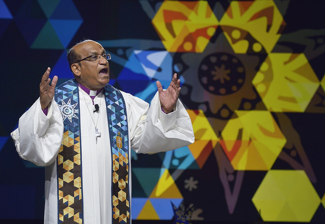 Bishop Sudarshana Devadhar preaches on May 14 at the 2016 United Methodist General Conference in Portland, Ore. Photo by Paul Jeffrey, United Methodist News Service.