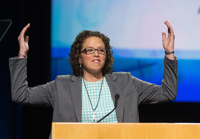 Chelsea Spyres of the Peninsula-Deleware Conference helps deliver the young people's address during the 2016 United Methodist General Conference in Portland, Ore. Photo by Mike DuBose, UMNS