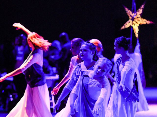 Members of the Worship in Motion dance ensemble process out during the May 14 worship service at the United Methodist 2016 General Conference in Portland, Ore. The group is from Federal Way United Methodist Church in Auburn, Washington. Photo by Maile Bradfield, UMNS.