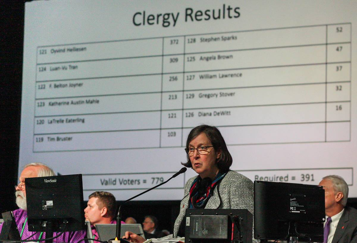 Mountain Sky Episcopal Area Bishop Elaine J.W. Stanovsky presides over the Judicial Council elections at General Conference 2016 in Portland, Ore. Photo by Maile Bradfield, UMNS.